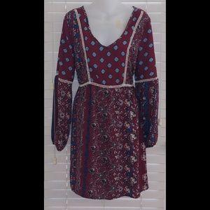 Sequin hearts boho medallion floral shift dress